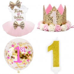 I am One Pink, gold and white kleding en decoratie set