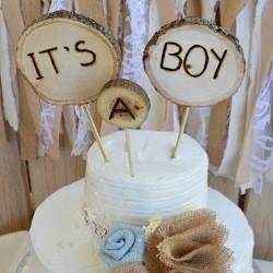 Driedelige houten taart topper It's a Boy