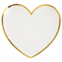 Hartvormige bordjes wit met gouden randje