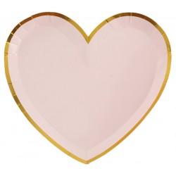 Hartvormige bordjes roze met gouden randje