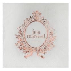 Pak met 20 servetten uit de serie Just Married rosé goud