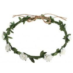 Bloemen krans wit met groen en touw