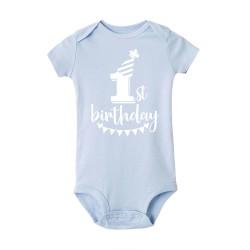 Romper First Birthday blauw met witte opdruk