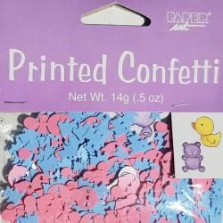 Gender reveal confetti Boy or Girl met roze en blauwe rammelaars