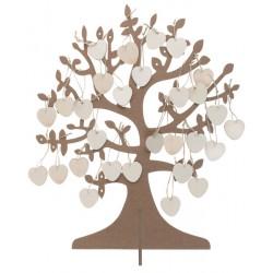 Gastenboek in de vorm van een wensboom met 50 houten hartjes