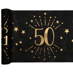Goud met zwarte tafelloper 50 Sparkling Metallic