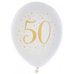 Ballonnen wit met goud 50 Metallic Gold