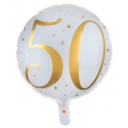 Folie ballon 50 Metallic White and Gold