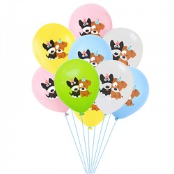Ballonnen Happy Birthday Dog wit, roze, geel, blauw of groen