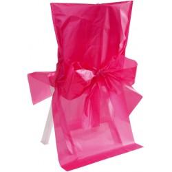 Satin polyester stoelhoes met strik aan de achterzijde roze