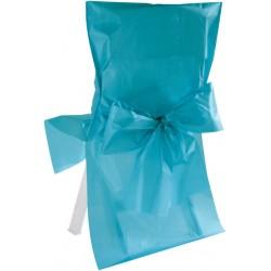 Satin polyester stoelhoes met strik aan de achterzijde blauw
