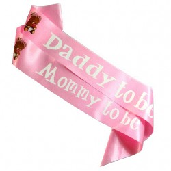Babyshower sjerpen set Mommy en Daddy to be met beertjes roze