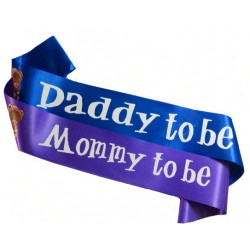 Babyshower sjerpen set Mommy en Daddy to be met beertjes blauw en paars