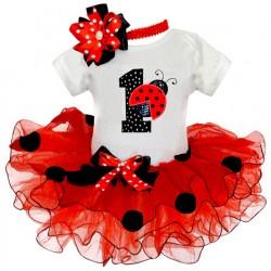 Driedelig 1e verjaardag setje Lieveheersbeestje rood, wit en zwart