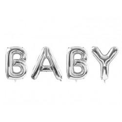 Folie ballon Baby zilver mega size