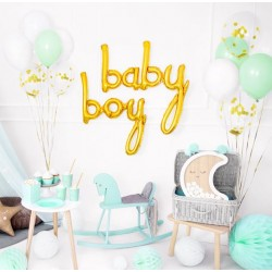 Baby en Boy folie ballon set in de kleur goud