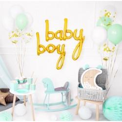 Baby en Boy folie ballon set in de kleur goud