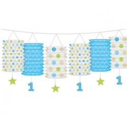 Eerste verjaardag lampion slinger blauw