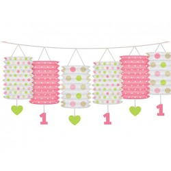 Eerste verjaardag lampion slinger roze
