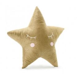 Kussen Little Star goud met geborduurde witte en roze accenten