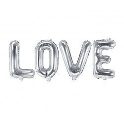 Folie ballonnen set 4-delig Love zilver folie