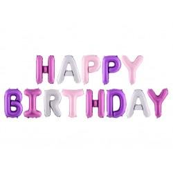 Folie ballonnen set Happy Birthday multi coloured