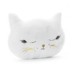 Kussen Cat ivoorkleurig pluche met geborduurde accenten
