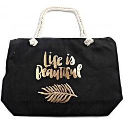 Grote strandtas Life is Beautiful zwart met goud opdruk