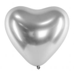 Ballon glossy heart zilver met een doorsnede van 30 cm
