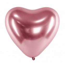 Ballon glossy heart rosé goud met een doorsnede van 30 cm