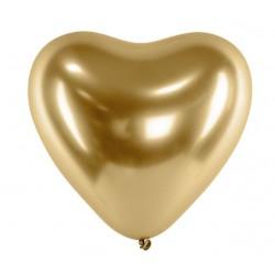 Ballon glossy heart goud met een doorsnede van 30 cm