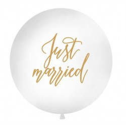 Big Balloon Just Married wit met goudkleurige tekst