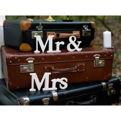 Houten teksten Mr & Mrs wit