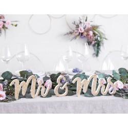 Houten teksten Mr & Mrs goud