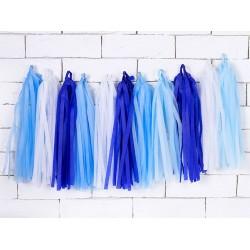 DIY tassel slinger set met een mix van 12 licht blauwe, donker blauwe en witte tassels en 2 meter wit touw