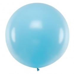 Ronde ballon met een doorsnede van maar liefst 1 meter pastel licht blauw