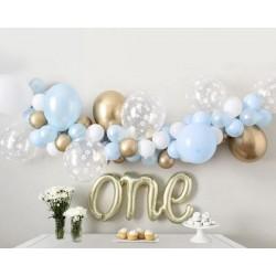 Ballonboog set blauw, goud en wit 79-delig