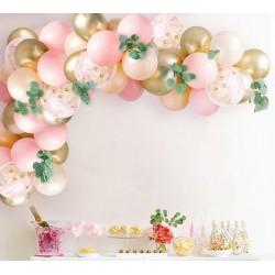 Ballonboog set pastel trendmix roze en zalm met goud metallic 43-delig