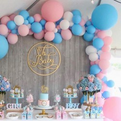 Ballonboog set Gender Reveal roze wit en blauw 98-delig