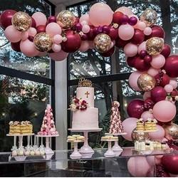 Ballonboog set Burgundy de Luxe roze en bordeaux rood 102-delig