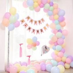 Ballonboog met slinger set Happy Birthday pastel met blauwe of roze slinger 93-delig