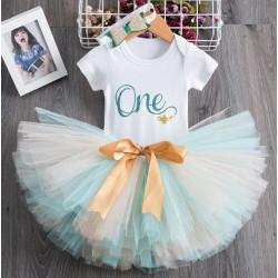 3-delig 1e verjaardag setje One voor een meisje in de kleuren wit, mint en goud