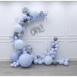 Ballonboog set One zilver en blauw 98-delig