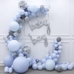Ballonboog set One zilver en blauw 99-delig