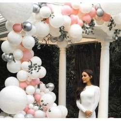 Ballonboog set zalm roze, wit en zilver 82-delig