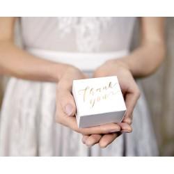 10 witte doosjes met metallic gouden opdruk Thank You