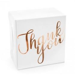 10 witte dozen met metallic rosé gouden opdruk Thank You