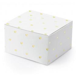 10 witte doosjes met kleine metallic gouden hartjes