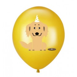 5 ballonnen Happy Birthday Dog geel
