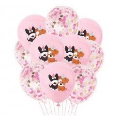 10 ballonnen Happy Dog roze en roze confetti mix